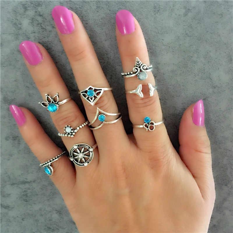 Anillo de nudillo Punk Vintage para Mujer Flor hueca sol Luna oro y plata antigua anillos de Color joyería de dedo medio