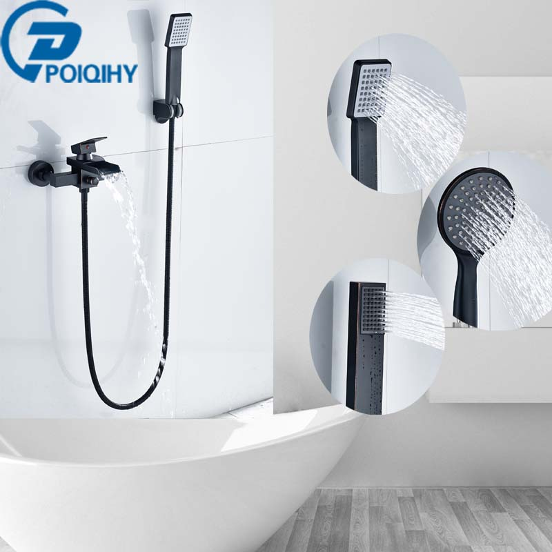 POIQIHY Bathtub Faucets Oil Rubbed Bronze Finish W/ Hand Shower Bathroom Faucet Mixer Tap Wall Mounted new us free shipping simple style golden finish bathtub faucet mixer tap shower faucet w ceramics handheld shower wall mounted