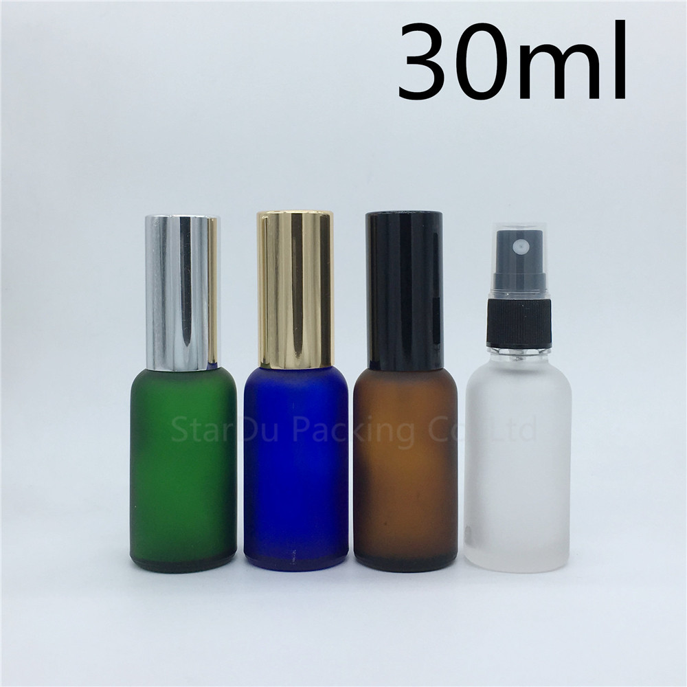 travel bottle 30ml amber blue green transparent frosted glass bottle with sprayer, 30cc perfume bottle Spray Bottles 240pcs-in Refillable Bottles from Beauty & Health    1