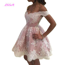LISM Off the Shoulder Mini Homecoming Dresses Lace Appliqued Empire Short Cocktail Dress Lovely Pink Prom Gowns vestidos coctel