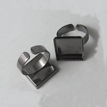 Blank Open Ring Settings with Square Deep Wall Bezel Cups Cabochon Bases Rings Findings DIY Jewelry Making Gunmetal Black Plated