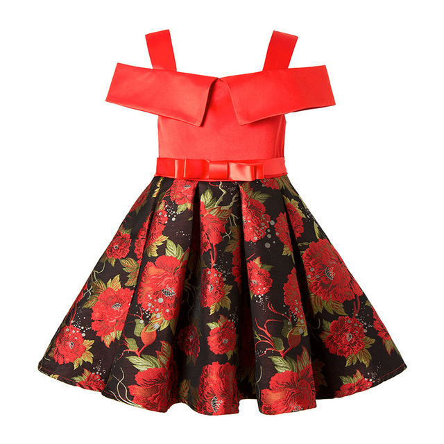 Girl Christmas party Dress 2017 Kids printing Princess Wedding Birthday  Party Dresses For Girls Children s Costume 3173ac26216c