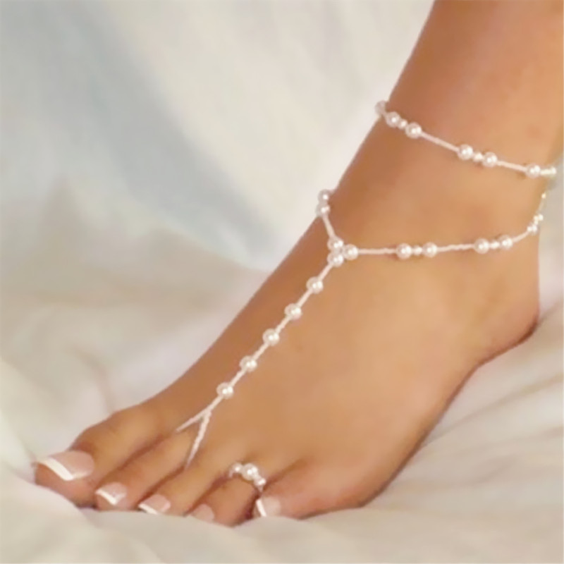 Fashion New Women Sexy Beautiful Dangle Barefoot Sandals Imitation Pearl Ankle Bracelet Foot font b Jewelry