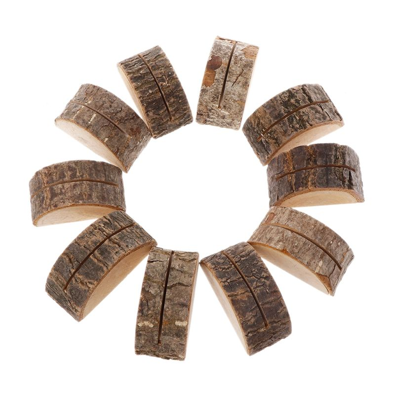 10pcs/set Rustic Natural Wood Table Name Number Place Card Holder Memo Note Photo Picture Clip Decor Wedding Party