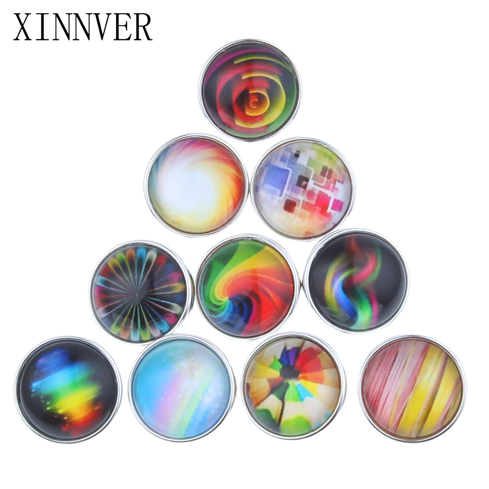 10pcs/lot Mixed 18mm Snap Buttons Jewelrys Rainbow Glass Round Snaps Fit Snaps Bracelets Xinner Snap Jewelry or Necklace ZB302
