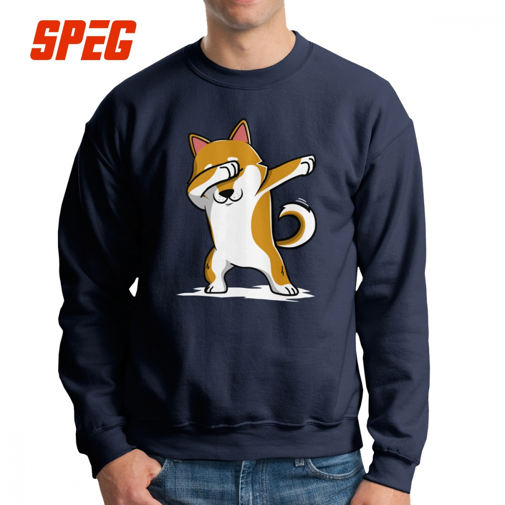 Dabbing Shiba Inu Funny Dog Men's Sweatshirts Graphic 100% Organic Cotton Crew Neck Pullover Classic Fit Hoodie Male