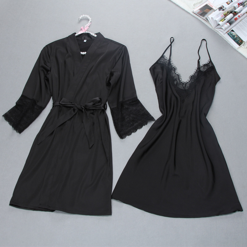Fiklyc brand sexy women's robe & gown sets twinest bathrobe + mini night dress two pieces sleepwear womens sleep set faux silk
