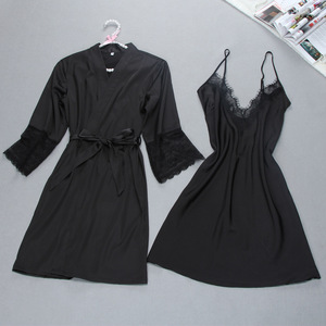 Image 2 - Fiklyc brand sexy womens robe & gown sets twinest bathrobe + mini night dress two pieces sleepwear womens sleep set faux silk