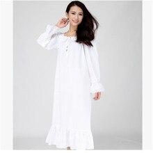 Women Nightgowns Long White Night Dress Woven Cotton Thin Spring And Summer Night-Robe Women's Sleep Lounge Sleepshirts