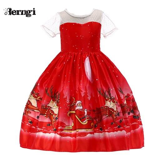 Berngi/новое красивое платье с принтом для девочек; vestidos; платье принцессы Санты для маленьких девочек; рождественские наряды; одежда - Цвет: Style H