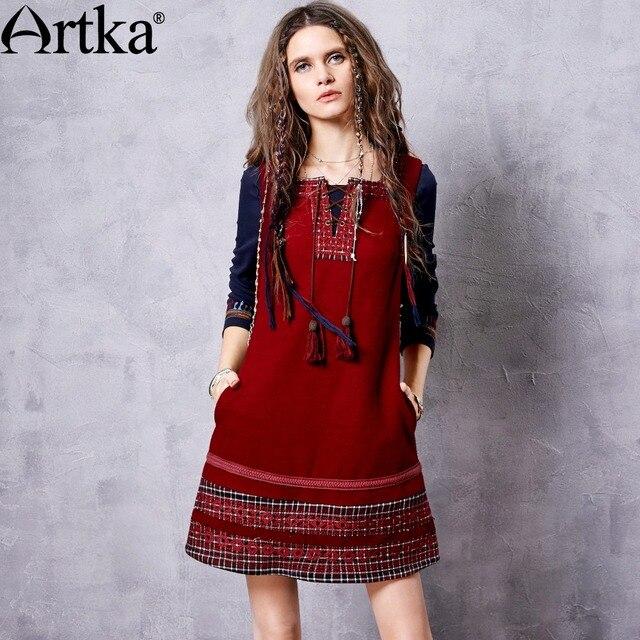 Robe rouge laine femme