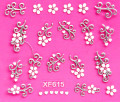 sweet 3D white flower design Water Transfer Nails Art Sticker decals lady women manicure tools Nail Wraps Decals wholesale XF615