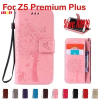 Cute Deluxe New Tree Cat Butterfly PU Leather Lether Wallet Case For Sony Xperia Z5 Premium