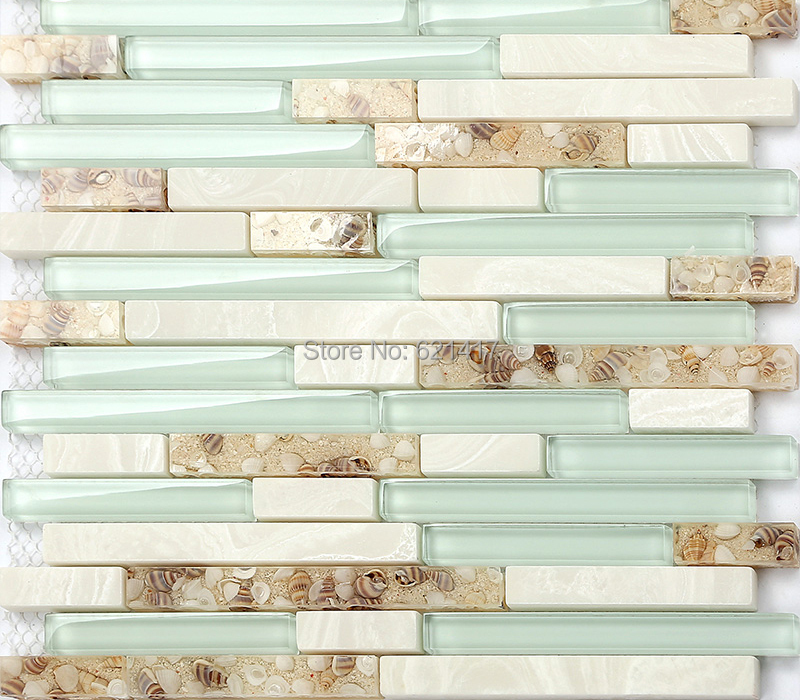 Light Blue Crystal Gl Strip Shell Mosaic Tiles Hmgm1111 Backsplash Kitchen Wall Tile Sticker Bathroom Floor In Stickers From Home Garden On
