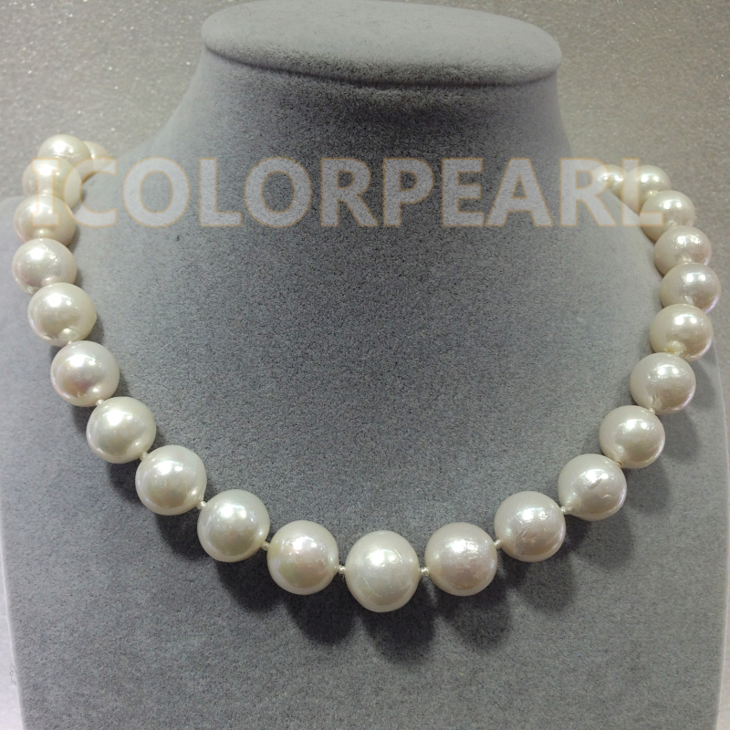 WEICOLOR The Best Jewelry For Ladies! Big 11-13.5MM Round White Cultured Natural Freshwater Pearl Necklace.WEICOLOR The Best Jewelry For Ladies! Big 11-13.5MM Round White Cultured Natural Freshwater Pearl Necklace.