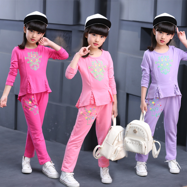 ФОТО Baby Girls Clothes Sets 2016 Spring Autumn Cotton Lace Casual Tracksuits Children Kids floral Clothing Sports Suit 2pc Set B214