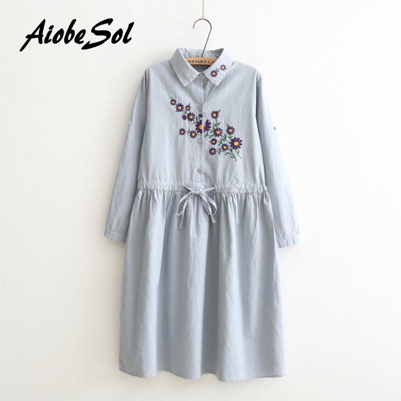 AiobeSol Mori Gril Store Autumn 2016 Women Blue Cotton Linen Dress Mori Girl Style Turn Down Collar Floral Embroidery Single Breasted Long Sleeve Dress