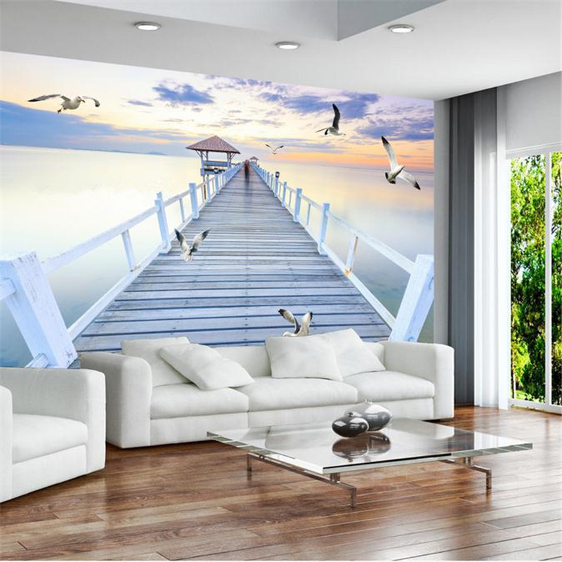 custom 3d stereoscopic minimalist modern wallpaper room background wall mural contracted evening sea bridge seagulls wallpaper custom baby wallpaper snow white and the seven dwarfs bedroom for the children s room mural backdrop stereoscopic 3d