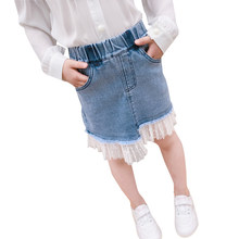 Fashion Girls Denim Skirts Summer Style Kids Clothes Toddler Girl Jean Tutu Skirt Baby Girls Tulle Skirt With Lace Bottom 4-13T