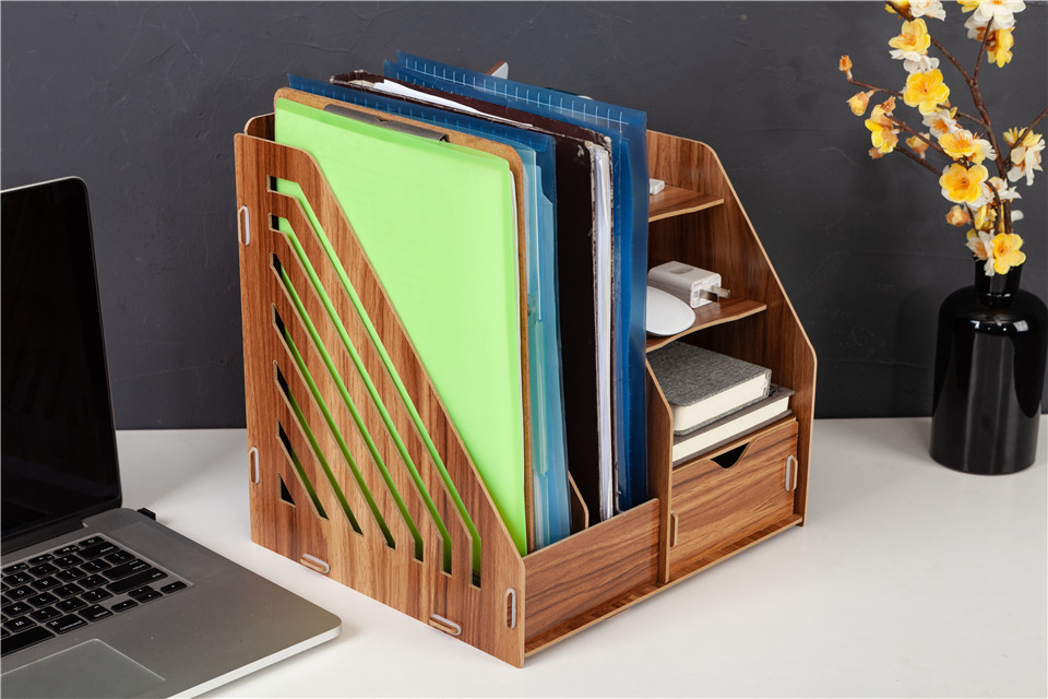 DIY Wooden Magazine Desk Organizers Book Holder Stationery Storage Holder Stand Shelf Rack Multifunctional Case