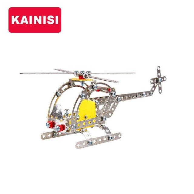 KAINISI Металл Модель Строительство Комплекты Вертолет Просветите Сборки Образования детей Игрушки VS 3d металл модель комплекты