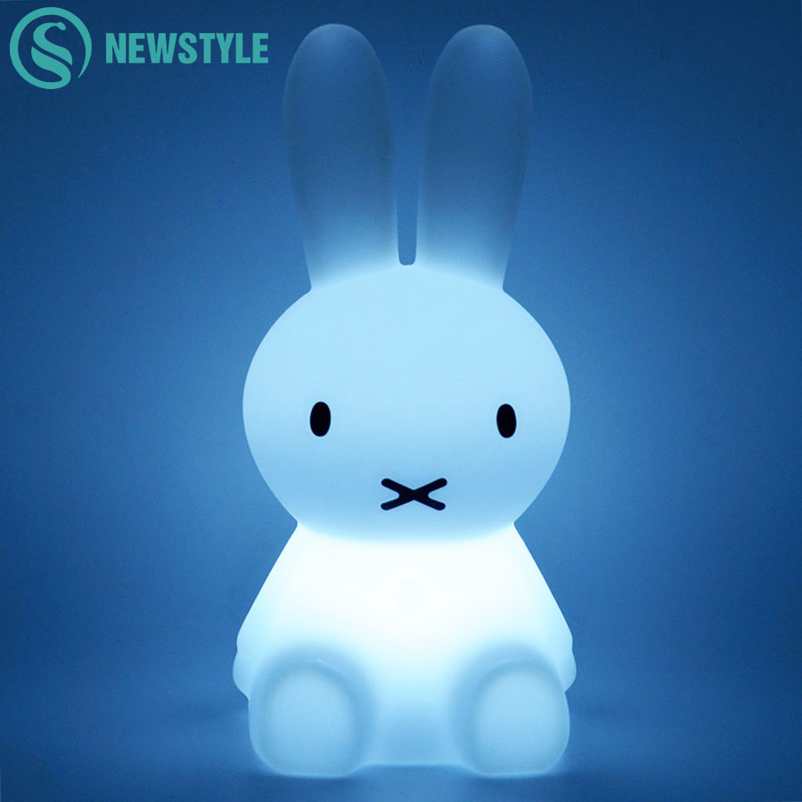 28cm Rabbit LED Night Light USB Charging Baby Children LED Night Lamp for Bedroom Home Decorative Light Kids Gift beiaidi 7 color usb rechargeable rabbit led night light dimmable animal cartoon light with remote baby kids christmas gift lamp