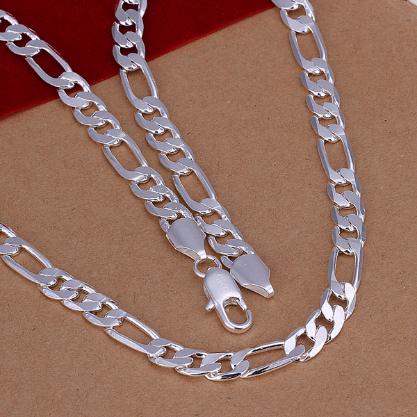 """925 sterling silver jewelry wholesale statement fashion pendant silver chain new 8mm flat side men 20"""" necklace low price CN018"""