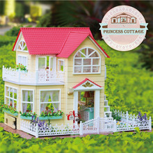 Szilvános családok ház DIY eredeti hercegnő Cottage összeállított modell Dolls House bútorok Játékok a lányok Juguetes Brinquedos