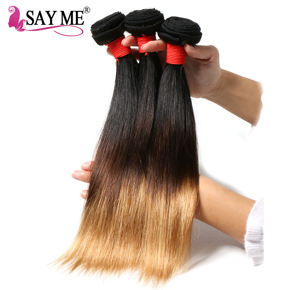 SAY ME 3 PCS Ombre Brazilian Straight Hair Bundles Three Tone Blonde Ombre Human Hair Weave Bundles Non-Remy 1b/4/27 Extensions