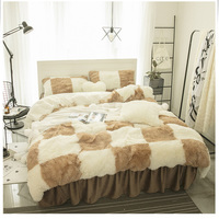 Solid Color Princess Bedding Sets Luxury Snow White lambs wool Bed Skirt Duvet Cover Bedspread Bedclothes Bed Linen Fitted sheet