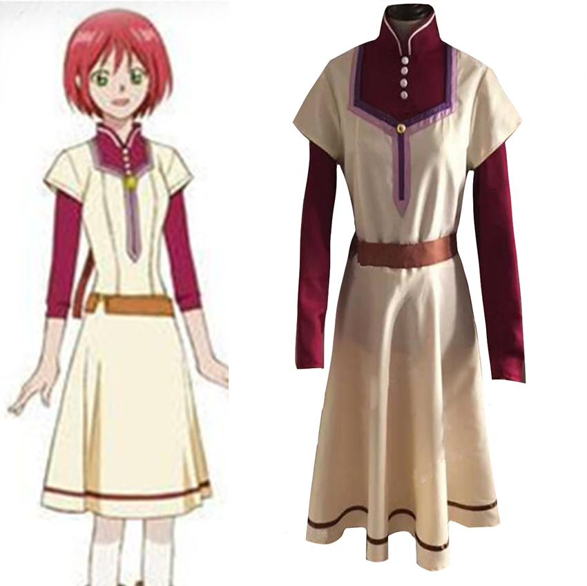 Akagami no Shirayukihime Shirayuki Dress Cosplay Costume From Snow White with the Red Hair