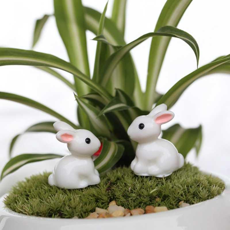 2019 جديد حديقة زخرفة الأبيض أرنب تمثال راتنج الحرفية وعاء النبات الجنية DIY ديكور لوازم حديقة