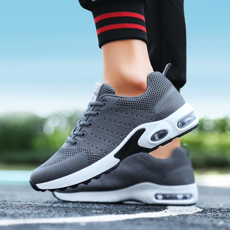 Mesh Air Cushion Mens Shoes Sports Shoes Summer Men Sport Shoes Breathable Sneakers Man Gray Running Shoes Athletic Male B-290
