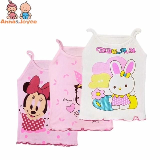 2Pcs/lot  Girls Tanks Children Vest Beach Clothing Baby Girl Summer Wear Tops Cotton Sleeveless Cool Good Quality