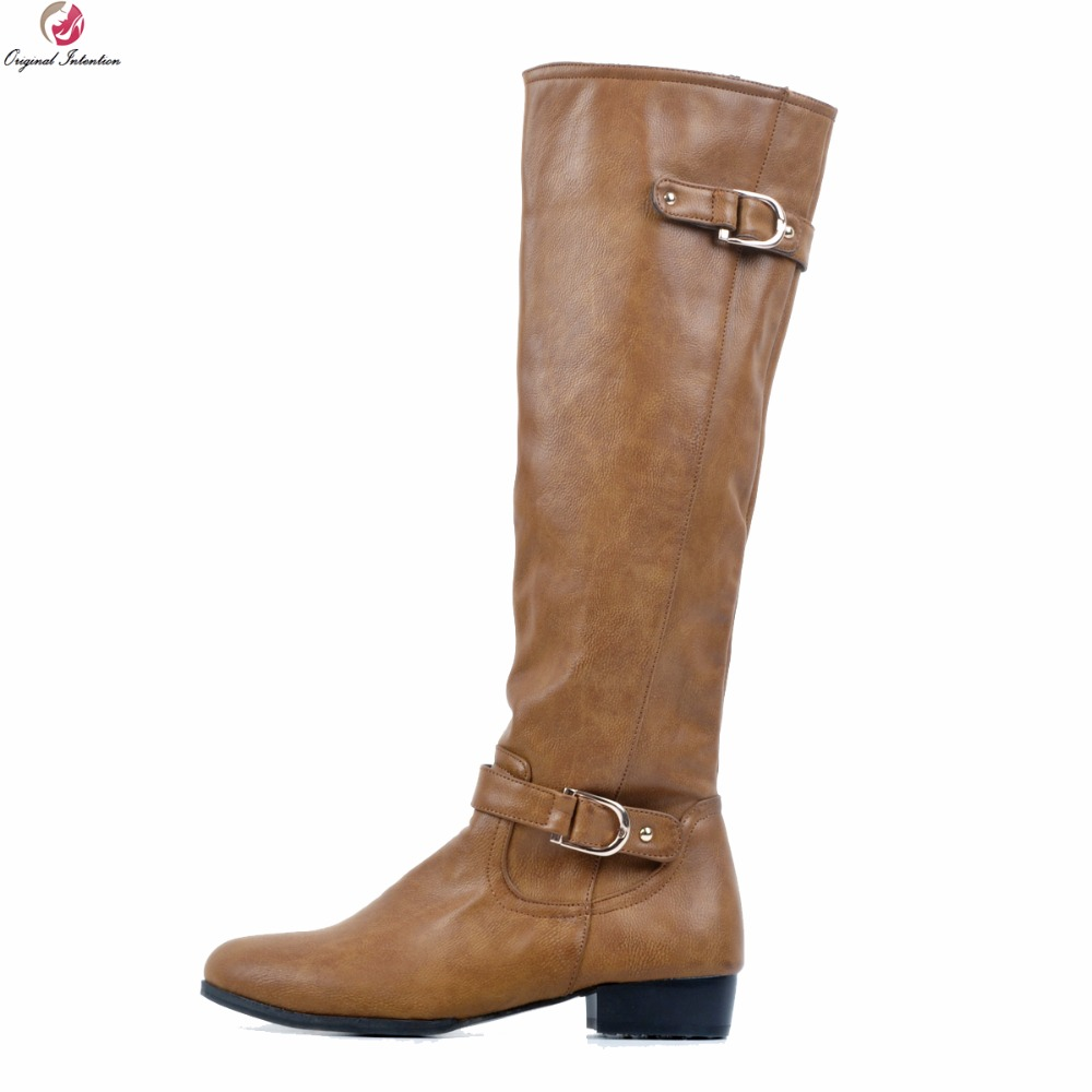 цена на Original Intention Super Stylish Women Knee High Boots Round Toe Square Heel Boots Fashion Brown Shoes Woman Plus US Size 4-15