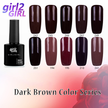 girl2Girl UV Gel Nail Varnish Soak Off 8ml PURE COLOR UV Nail Polish Sequins  Manicure Gel Polish BROWN set