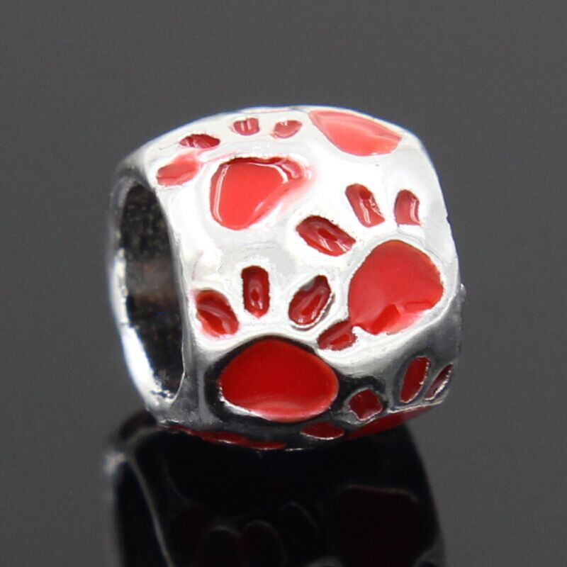 2018 Silver Color Dog Footprint DIY Fashion Beads Compatible With Style Charm Beaded Fit Pandora Bracelets