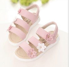 Girl sandals 2017 summer new Korean Flower Princess shoes baby shoes children beach shoes in the big children's students sandals