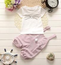 2019 Summer Kids Clothes Set Korean Cotton Overalls for Boys Girls T Shirt+sling Pants Toddler Child  1-3 QHX004