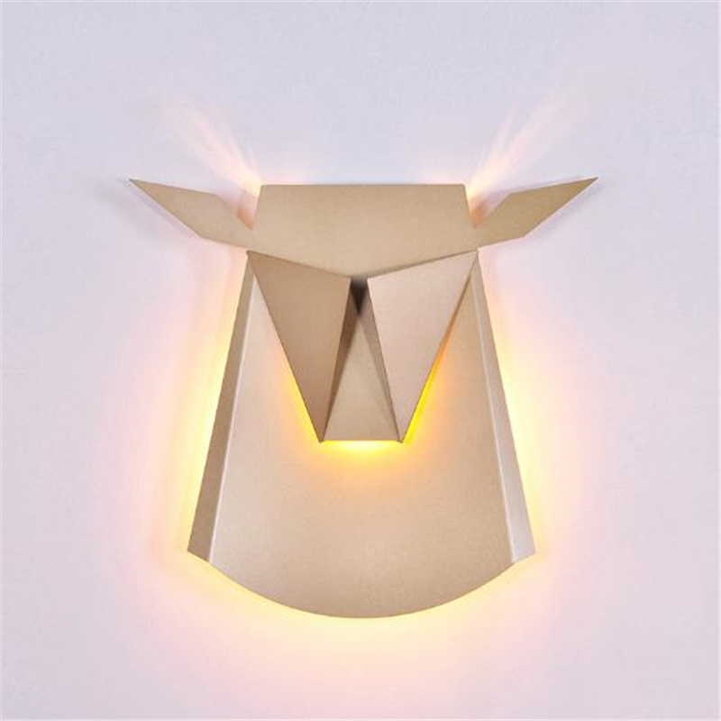 Black/White/Gloden Nordic Creative Oxhead Wall Lamp Bedroom Corridor Post-modern Decorative Free Shipping 1 piece free shipping anodizing aluminium amplifiers black wall mounted distribution case 80x234x250mm