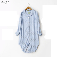 Autumn New Stripe Polka Dot Sexy women sleepshirts 100% brushed cotton fresh simple nightgowns for Women Sleepwear nightdress