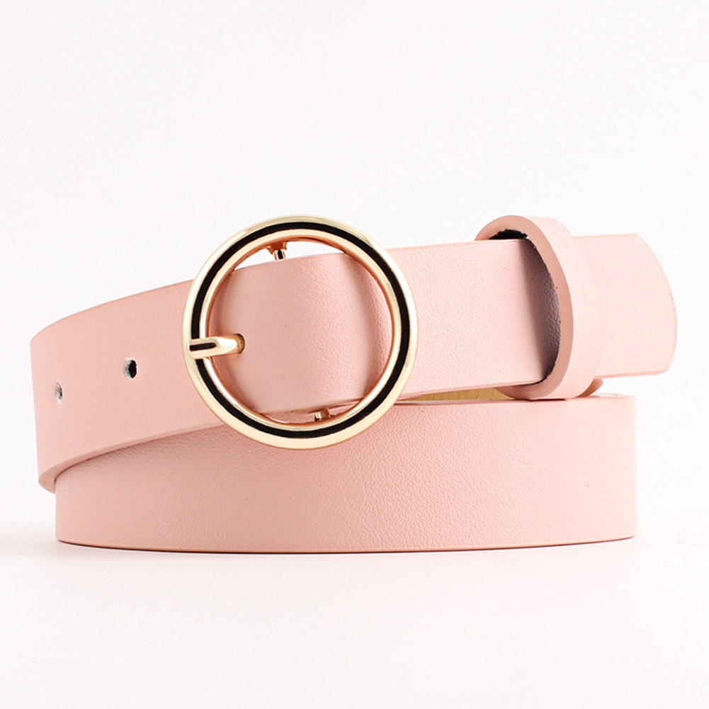 Belt Round Buckle Casual Metal Pin Leather Waistband