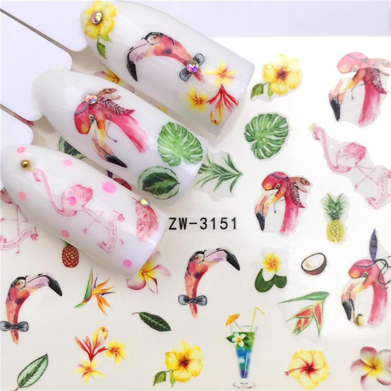 LCJ 1 шт стикер для ногтей с водной наклейкой животное цветок растение шаблон 3D Маникюр Стикер дизайн ногтей украшение - Цвет: YZW-3151