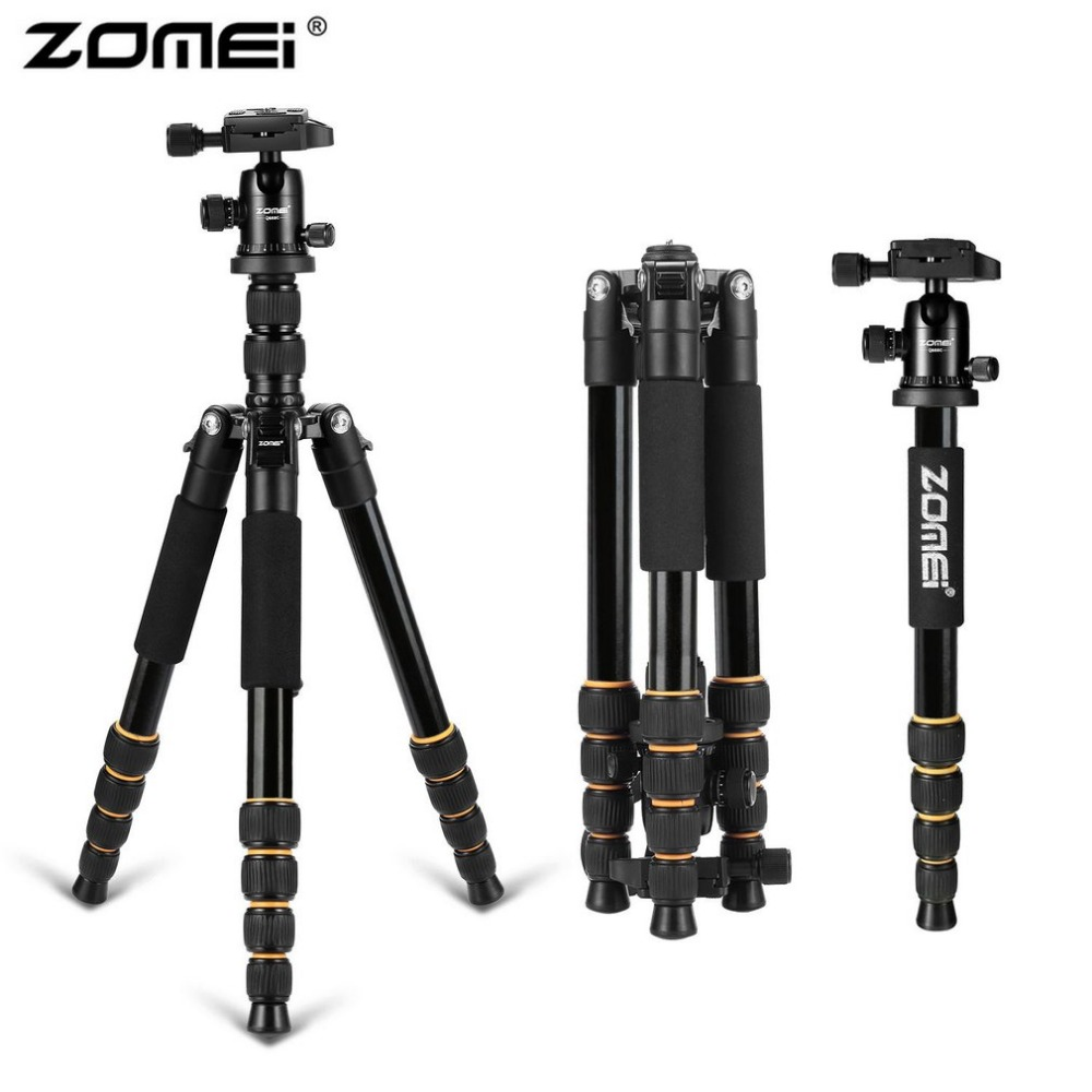 Zomei Q666 Lightweight Aluminum Tripod Professional Portable Travel  Monopod With 360 Degree Ball Head For DSLR Camera aluminium alloy professional camera tripod flexible dslr video monopod for photography with head suitable for 65mm bowl size