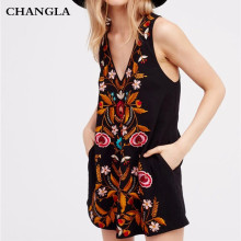 CHANGLA 2017 Summer Bohemian Flower Embroidered Black Sleeveless Cami A Line dress Boho Mini Beach Dresses Retro Vintage Dress