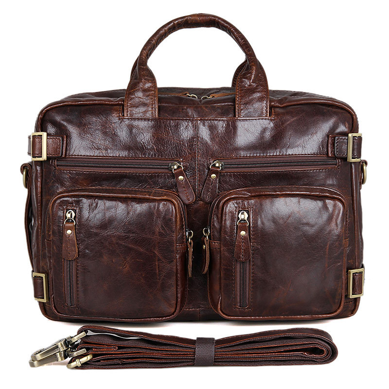 Fashion Crazy horse genuine leather men bag vintage loptap business men's genuine leather briefcase mens messenger bags #7026