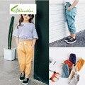 Nuevo 2016 Algodón Niño Pantalones Casuales Chicas y Chicos Trend Pantalones Noveno Pantalones Básicos Elásticos Niños Pantalones Bombachos Pantalones de Color Caramelo