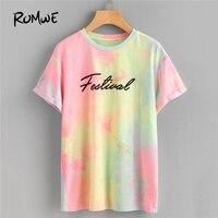 ROMWE Pastel Tie Dye Cuffed Sleeve T Shirts Women Round Neck Short Sleeve Tops 2018 Summer