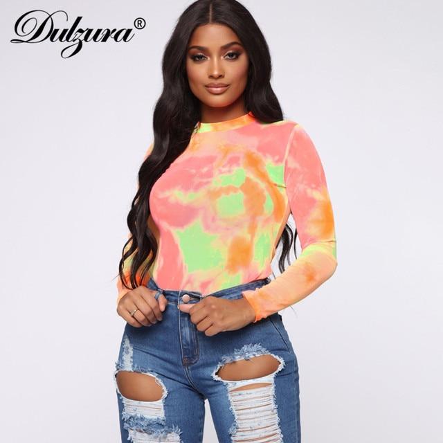 Dulzura 2019 autumn winter women bodysuit tie dye long sleeve streetwear festival clothes body office one piece rompers bodycon 4