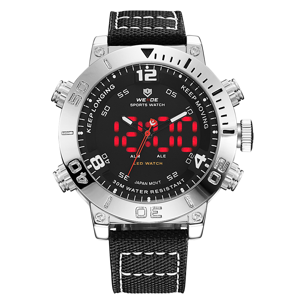 все цены на WEIDE Luxury Brand Men Sports Watch Quartz Digital LED Army Military Watch Water Resistant Relogio Masculino Clock Drop Ship